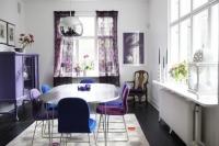 Thổi hồn cho phòng ăn bằng gam màu tím đẹp khó cưỡng